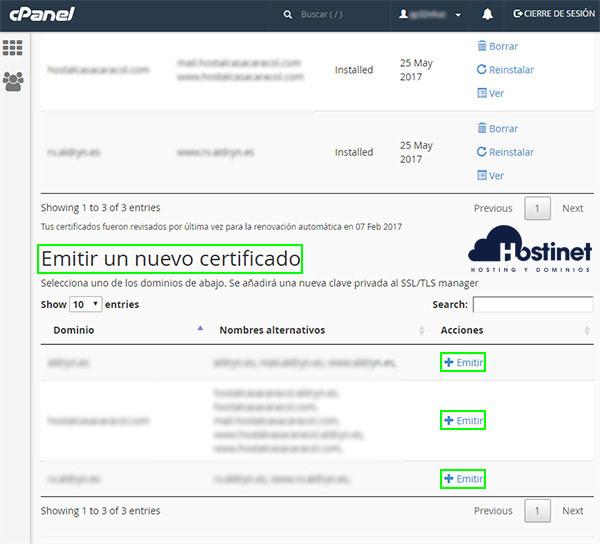 cPanel Let's Encrypt SSL Emitir
