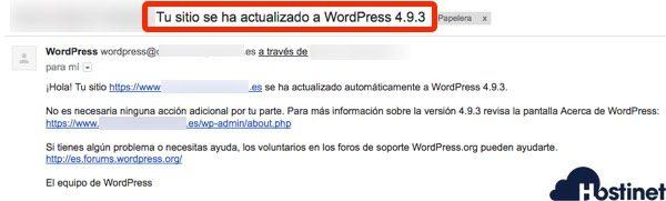 email recibido actualizacion automática wordpress 493
