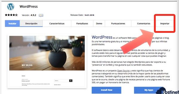 importar wordpress subdominio con Softaculous