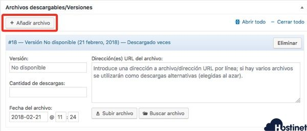opciones anadir archivo download monitor WordPress
