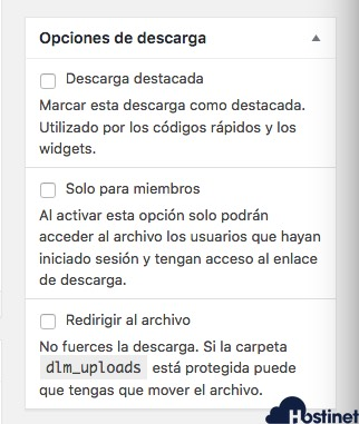 opciones descarga download manager WordPress
