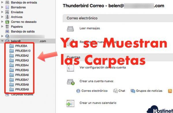 si aparecen carpetas sincronizadas en IMAP thunderbird