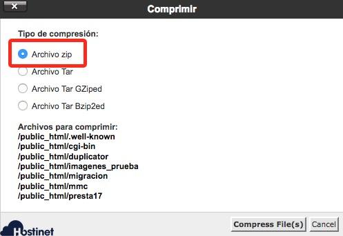 zip compress files cpanel administrador de archivos