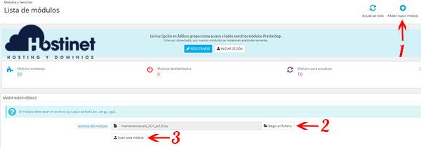 PrestaShop 1.6 Añadir Módulo Elegir Fichero Subir