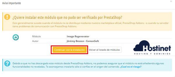 PrestaShop 1.6 Image Regenerator Continuar Instalación