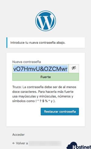 anadir nueva contrasena wordpress