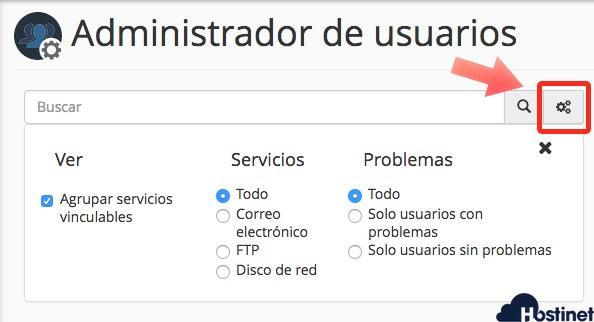 buscador administrador de usuarios cpanel