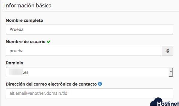 informacion crear basica usuario cpanel - Hostinet