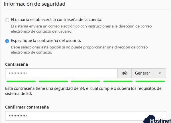informacion seguridad usuario cpanel - Hostinet