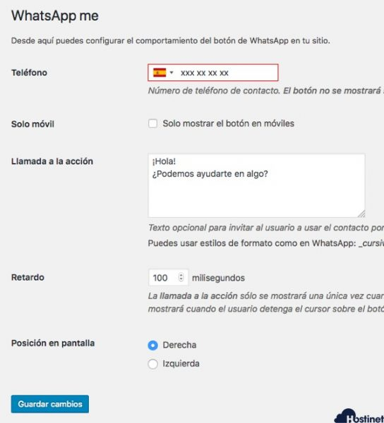 opciones whatsapp me WordPress