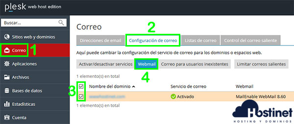 Plesk configuración correo webmail
