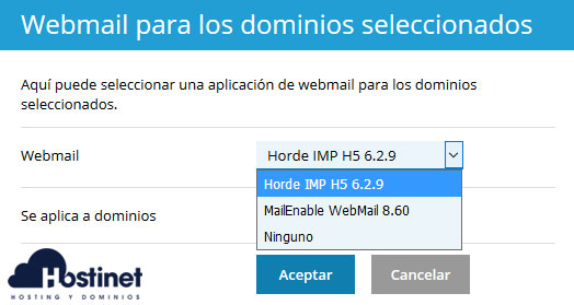 Plesk Webmail Selección