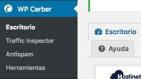 cerber security plugin menu WordPress