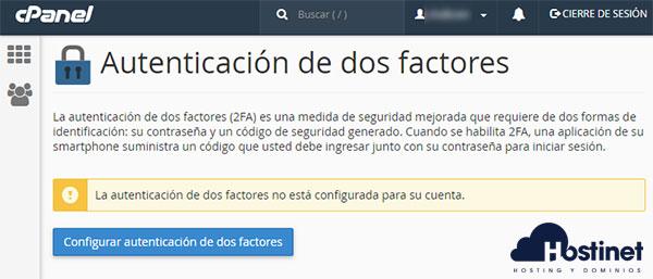 cPanel - Autenticación de dos factores Configurar