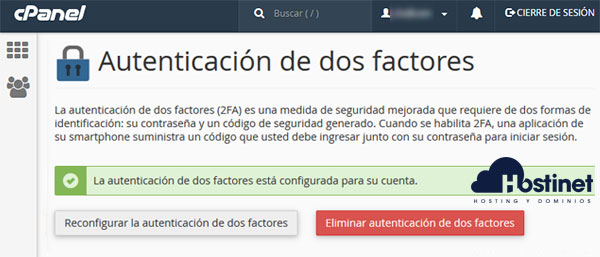 cPanel - Autenticación de dos factores eliminar