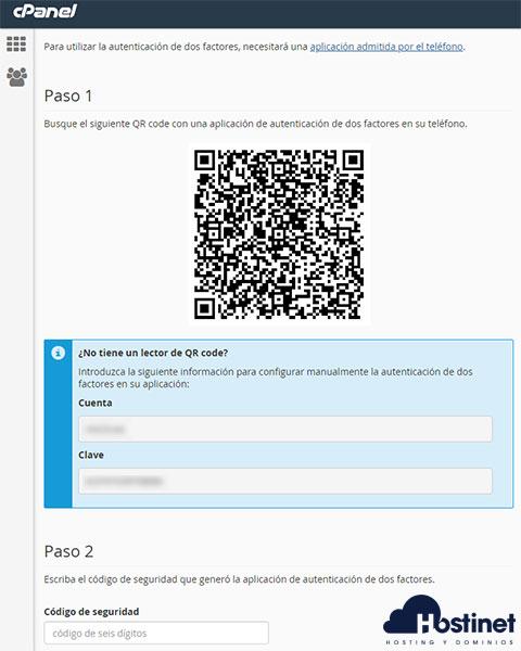 cPanel - Autenticación de dos factores QR