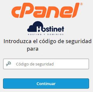 cPanel - Autenticación de dos factores Código Seguridad