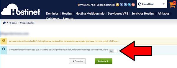 Hostinet Mis Productos Gestionar Zona DNS Cambiar DNS