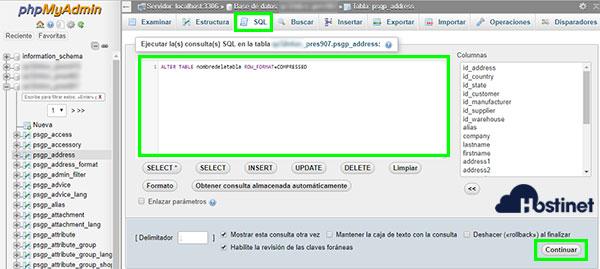 phpMyAdmin SQL Barracuda Compressed