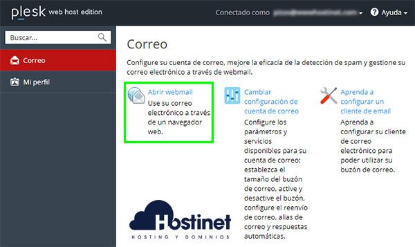 Plesk Interfaz Email Acceso Abrir Webmail