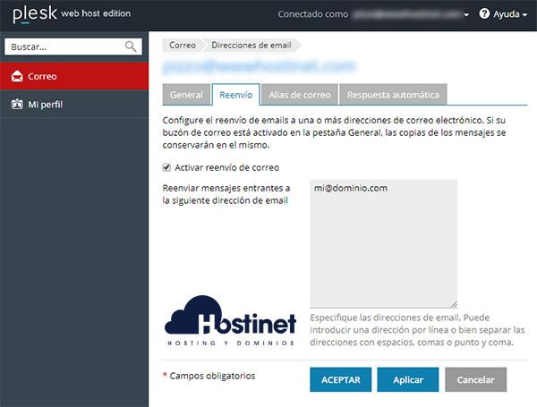 Plesk Interfaz Email Acceso Cambiar Configuración Cuenta Correo Reenvío