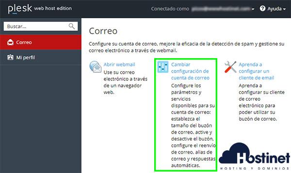 Plesk Interfaz Email Acceso Cambiar Configuración Cuenta Correo