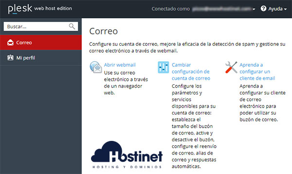 Plesk Interfaz Email Acceso Panel Cliente