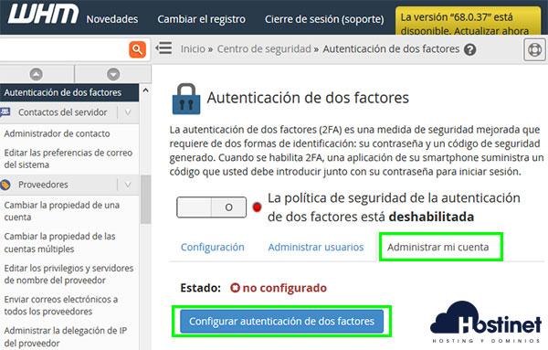 WHM Autenticación de dos factores Configurar