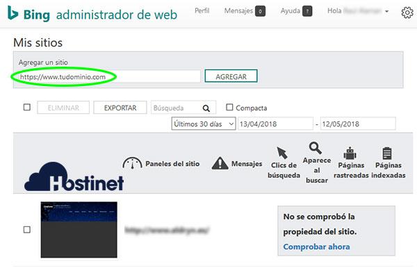 Bing Agregar Sitio