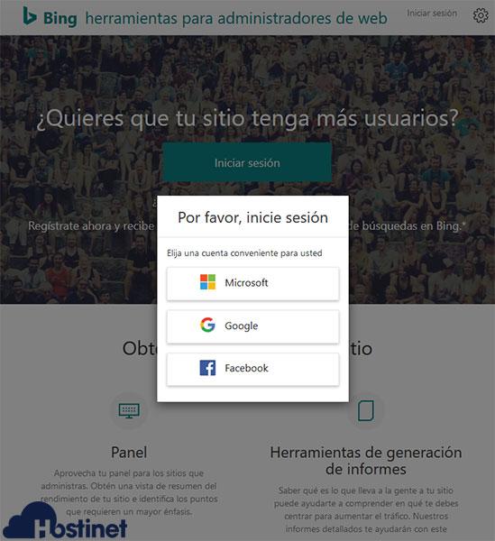 Bing Webmaster Tools Logueo