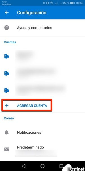 agregar cuenta outlook android