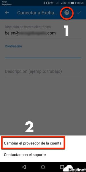 cambiar proveedor cuenta outlook android 2018 a IMAP