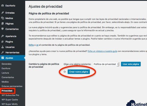 crear nueva pagina privacidad WordPress para la RGPD