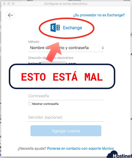 cuenta exchange outlook macos - NO es posible configurar en Hostinet