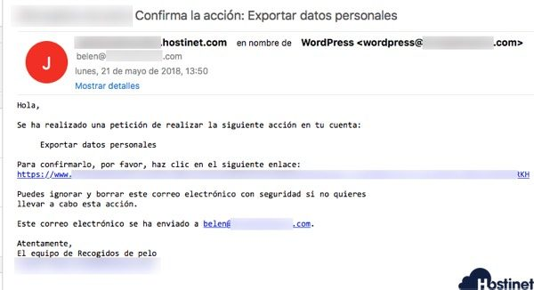 email solicitud datos wordpress RGPD