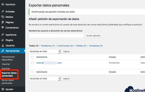 exportar datos personales wordpress RGPD