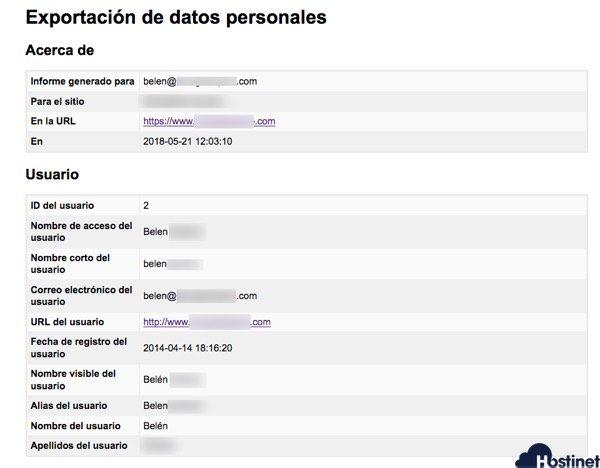 informe datos personales wordpress RGPD