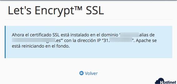 mensaje confirmacion ssl wildcard en cPanel - Hostinet