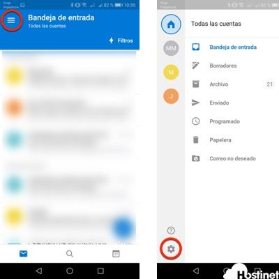 Abrir configuración de Outlook para Android