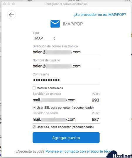 outlook 365 macOS configuracion imap correo electrónico Hostinet