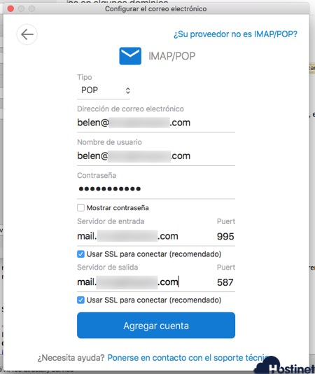 outlook 365 macos configuracion pop en Hostinet