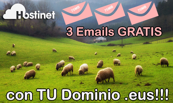 3 Emails GRATIS con TU Dominio .eus (75 MB para cada Buzón)