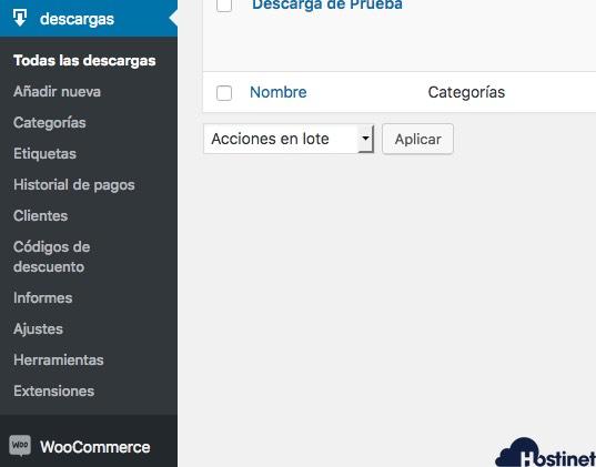 edd descargas menu WordPress