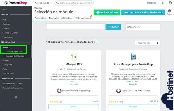 PrestaShop 1.7 Modulos Subir