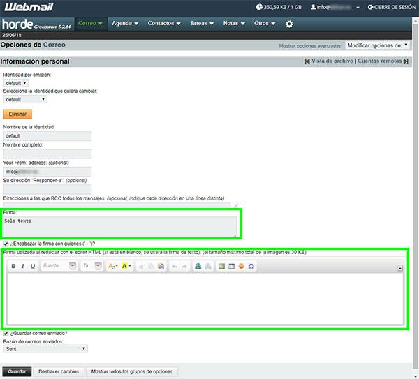 webmail horde opciones correo bloques firma