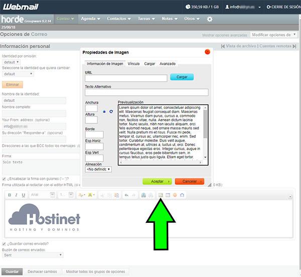 webmail horde opciones correo imagen