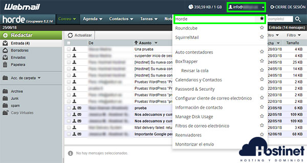 webmail horde predefinido