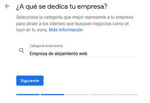 Google My Business Categoría