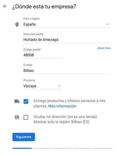 Google My Business Ubicación Tienda