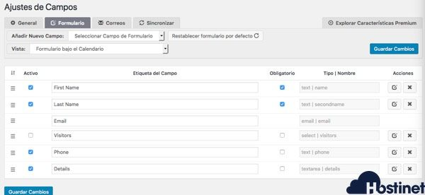 ajustes formulario booking calendar WordPress